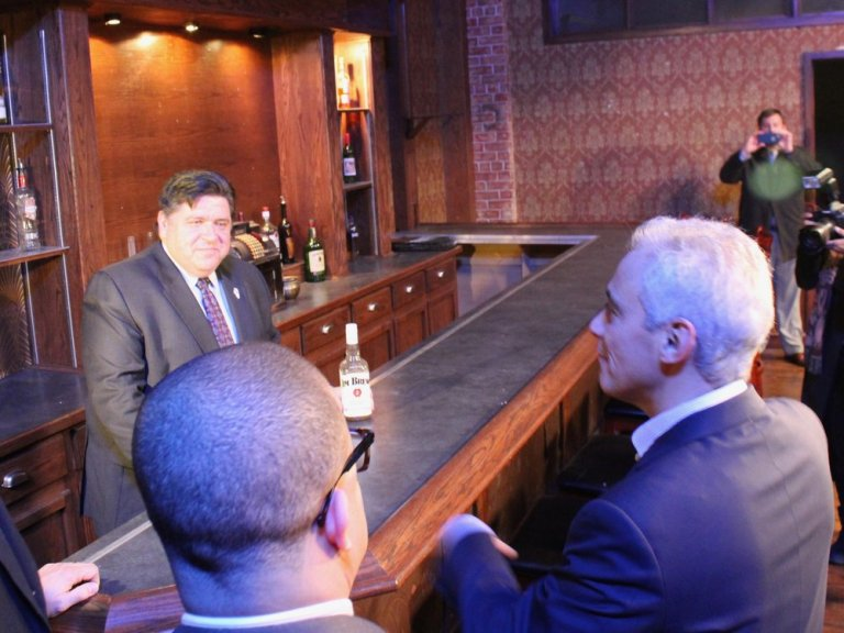 Gov. Pritzker and Chicago's Mayor Emanuel visit a barroom set Thursday at Cinespace Studios. (One Illinois/Ted Cox)
