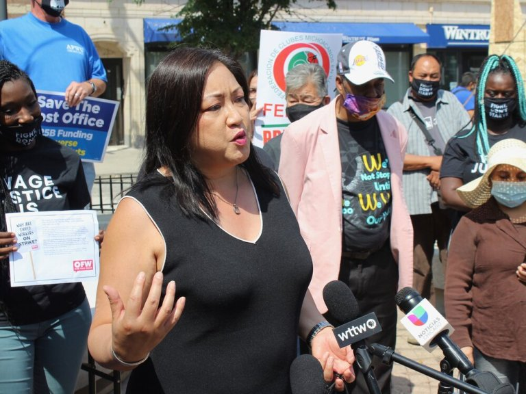 State Rep. Theresa Mah speaks at a protest on the subminimum wage in Chicago this summer. (One Illinois/Ted Cox)