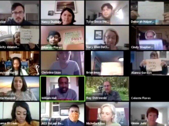 The Virtual Clean Energy Rally gets underway online. (Zoom)